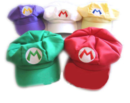 Wholesale Super Mario Bros Anime Cosplay Red Cap Tag Super cotton hat Super mario hats Luigi hat colors Free shpping DHL