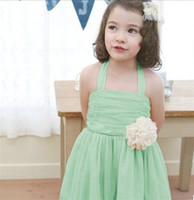 Wholesale New Korean Children Girl Wearing Girls Flower Ribbon Gallus Sundresse Double Gauze Veil Lace Suspender Tutu Dresses High Quality F0347
