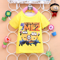 Unisex Summer  14 new summer kids kid child children babe baby boy girl cool despicable me cartoon printed short-sleeved men's clothes wholesale E0013