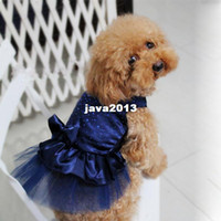 Wholesale FreeShipping Dog Puppy Wedding Party Lace Skirt Clothes Bow Tutu Princess Dress Pet Apparel DropShipping
