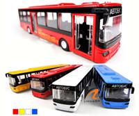 Wholesale 1 Bus Alloy Plastic Die cast Model Cars with Sound amp Light Pull Back Kids Boys Toy Collection Gift