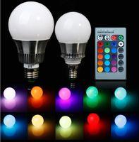 Wholesale 1pcs E27 w RGB Big Ball LED Bulb Lamp Key Color Remote Control V V Memory Function