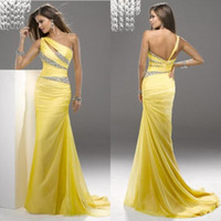 Wholesale 2014 Gorgeous One Shoulder Mermaid Beaded Evening Sweep Train Party Long Ruched Chiffon Yellow Prom Dresses EM01057