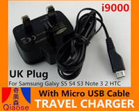 Wholesale UK Wall Travel Home Charger With Micro USB Cable i9000 AC Adapter Chargers For samsung Galaxy S5 S4 S3 Note i9600 i9500 i9300 Universal