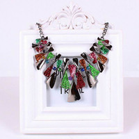 Wholesale Chic Women Alloy Necklace Lady Colorful Beads Choker Pendant Necklace Charms Jewelry Gift GHB