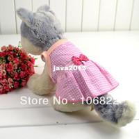 Лето домашних собак Puppy Princess рукавов Лук платье Lattice одежда Одежда Top Free shippingDropShipping