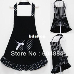 Wholesale New Sale Lady Lovely Princess Style Cotton Apron with big pocket for Cooking Kitchen