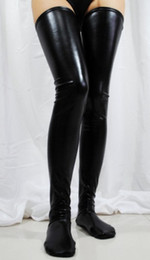 Wholesale Sexy Black Red Womens Black Stocking Spandex Thigh High Latex Glam Rock Gothic Wetlook Fetish Stocking S7796 Dropshipping