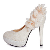 Wedding Pumps High Heel Top Quality Flowers Lace Bridal Bridesmaid Luxury 12cm High Heels Party Prom Shoes 2014 Cheap Wedding Women's Shoes DL1311250