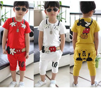 Unisex Summer Pullover 2014 Kids Fashion Boys Girls Short Sleeve Cartoon Sport Activewear Children Set White Red Yellow Tee Tops + Pants Kids Outfits B3337