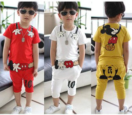 Wholesale 2014 Kids Fashion Boys Girls Short Sleeve Cartoon Sport Activewear Children Set White Red Yellow Tee Tops Pants Kids Outfits B3337