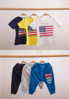 Unisex Spring / Autumn Short Factory Outlet! Fashion Flag baby clothes. Wholesale cotton clothes. Kids two-piece (short sleeve + pant)cheap.baby wear.sale.china 5sets CH
