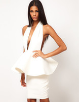 Cheap Free Shipping, 2014 Luxury Sexy Halter Ruffles Peplum Backless White Bandage Dress Evening Dress Size S,M,L,XL