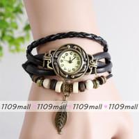 Women's artificial quartz - 100pcs Wrap Around Watch Women Artificial Leather Vine Bracelet Wristwatch Leaf Pendant Excellent Quality Round dial Watch As Gift