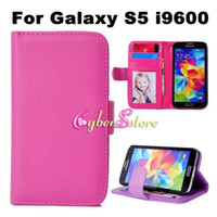 Pour Galaxy S5 S6 S7 bord Photo Frame Wallet PU Housse en cuir flip Cover + Credit Card Pouch Support à Samsung S5 i9600