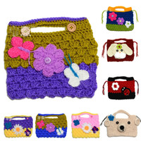 Wholesale Super cute children s crochet decorative bags baby girl wool knitting bags purse handbags