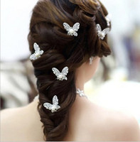 Clip & Pin alloy used - The bride hair bright silver butterfly using Korean wedding Accessories diamond and pearl Tiaras Hair Accessories