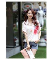 Lapel Neck Short Sleeve Regular Women's Blouse Ladies Shirt Short Sleeve Shirts Tops Printed Flower Pattern Loose Casual Shirt S M L XL XXL Summer 2014 XY-4