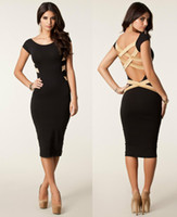 Casual Dresses V_Neck Knee Length Wholesale - S M L XL XXL Plus Size 2014 Spring New Fashion Women Sexy Knee Length Black Bodycon Bandage Dress Celebrity Casual Dress 9050