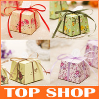 Favor Boxes Pink Paper DIY Favor Holders Creative Style Polygon Wedding Favors Boxes Candies And Sweets Gift Box With Ribbon HQ0019