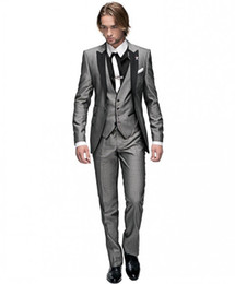 Classic One Button Groom Tuxedos Light Grey Best man Peak Black Lapel Groomsman Men Wedding Suits Bridegroom (Jacket+Pants+Tie+Vest)J329