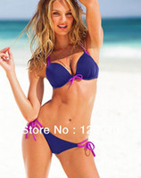 Women Bikinis Patchwork Wholesale - 2013 swimwear sexy bathing suit swim wear beach bikini swimsuit patchwork push up swimming suit bandage for women Freeshipping