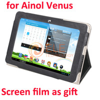 Wholesale Professional Ainol Venus Leather Stand Case For Ainol Novo Venus Tablet PC Screen Film As Gift