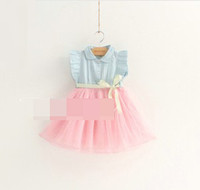 Wholesale Korean Sweety Girls Dress Butterfly Bowknot Ribbon Denim Puff Sleeve Doll Neck Dots Gauze Veil Tulle Tutu Dresses Sweet Kid s Clothing F0354