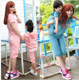 Wholesale Family Cloth Mom And Baby Girls Wing Back Short Sleeve Hoodies Pants Cotton Summer Outfits Adult Children Set B3340