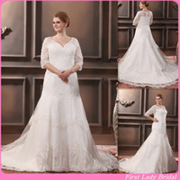 Wholesale Fashion Plus Size Wedding Dresses With Sleeves Lace V neck Sweep Train Appliques Mermaid Covered Buttons Beaded Bridal Gown