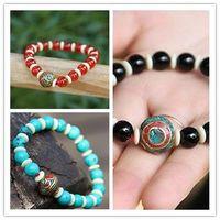 Wholesale Elastic women rosary bracelet agate turquoise beads ethnic strands bracelet vintage elastic women beaded bracelet