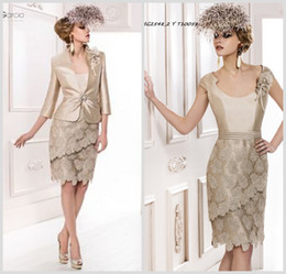 Wholesale 2014 Hot Scoop Neck Mother of the Bride Dresses Champagne Taffeta Lace Long Sleeve Sheath Knee Length Prom Gowns With Jacket