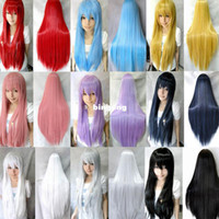 Brazilian Hair Ombre Color 100% High Temperature Fiber Free Shipping 80cm women heat resistant Pink Brown Black Blue Red Yellow white Blonde straight anime wig cosplay party wigs
