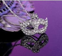 Pendant Necklaces Bohemian Unisex Wholesale alloy cheap necklace,exquisite fox necklace,Bohemia mask pendants,diamond flower necklace short clavicle,fashion jewelry.10pcs.MC