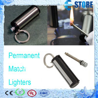 Wholesale Fashion Permanent Match Striker rectangular Lighters With Key Chain Silver Worldwide FreeShipping wu