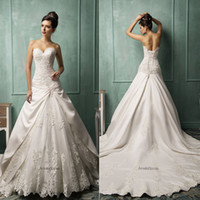 A-Line Reference Images Sweetheart Amelia Sposa New Sweetheart Neckline Royal Wedding Dresses Lace up Appliqued Lace up Sweep Train Garden Bridal Party Gowns 2014 Cheap Arabic