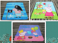 Wholesale 2014 New peppa pig Coral Fleece Blanket Polyester kids Sleeping Quilt Cover Picnic Travel Blanket Rug Cover gift