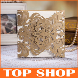 Wholesale Lace Hollow Wedding Invitation Card Gold Personalized Wedding Invitations Customizing Printing HQ0051