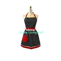 aprons with pockets red - Promotional New Polka Dot Cotton Apron with Red Pocket