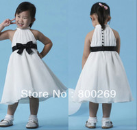 Reference Images Sleeveless A-Line 2014 New Arrival High Collar Sash Bow Sleeveless Zipper with Button Chiffon A-line Made in China Flower Girl Dress HT31