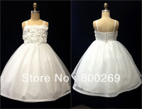 Reference Images Sleeveless Ball Gown 2014 New Arrival Spaghetti Strap Flowers Satin Ball Gown Made in China Flower Girl Dress HT20