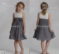 Reference Images Girl Chiffon Elegant cheap A line chiffon wedding flower girls' dresses sleeveless knee length zipper back kids summer skirt dresses prom gowns FG0016