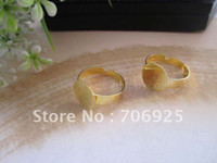 Connectors Jewelry Findings Zhejiang China (Mainland) Free shipping Wholesale Adjustable Gold plated Ring Blanks,ring settings 12mm 60pcs lot