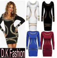 Wholesale NEW CLELB sexy Bodycon dress Ladies Kim Kardashian Celebrity Foil Print Womens Short Mini party club Dress S XXL Plus size
