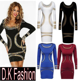 Robes bodycon kardashian en Ligne-NOUVEAU CLELB sexy Bodycon dress Ladies Kim Kardashian Celebrity Foil Print Womens Short Mini club de fête Robe S-XXL Plus taille Livraison gratuite