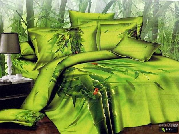 3d yellow green bamboo print bedding comforter set queen - Drap housse king size ...