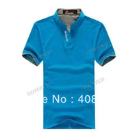 Men Polo Tops Fashion Cool Men's Shirts Stand Collar Polo Shirt Short Sleeve T-Shirt Top Tee 5 Colors M-XXL16865