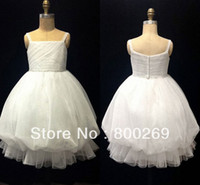 Reference Images Sleeveless Ball Gown 2014 New Arrival Spaghetti Strap Beaded Pleat Organza Ball Gown Made in China Flower Girl Dress HT23