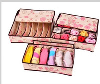 Wholesale 3pcs cheap Lovely design household storage underwear bra socks storage boxes case with a cover organizers