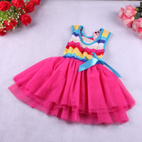 TuTu Summer A-Line Girls Summer Rainbow Tutu Dress Children New Rainbow Vest Dress 4 Colors Available China Post Air Mail Free Shipping 1pcs Retail Choose Size